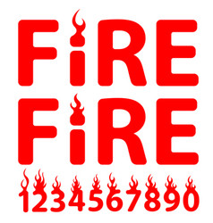 lettering fire vector image
