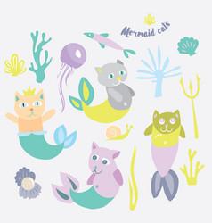 Little mermaid kitten collection kitty cat vector