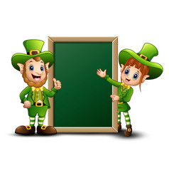 man and girl cartoon leprechaun with green chalkbo vector image