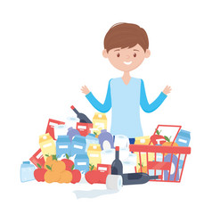Man shopping with basket and products vector