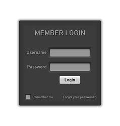 Member login website element vector