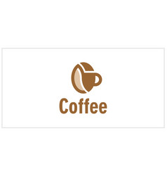 merging cups and coffee beans logo design template vector image