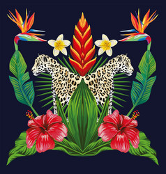 mirror tropical composition from animal and vector image