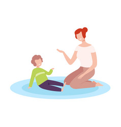Mother and her son sitting on floor and vector