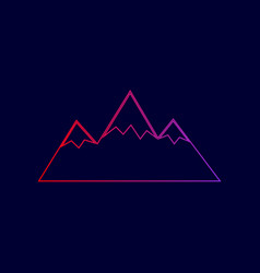 Mountain sign line icon with vector