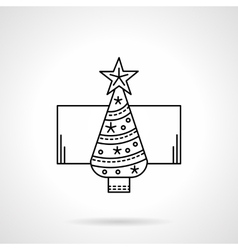 New Year tree black flat line icon vector image