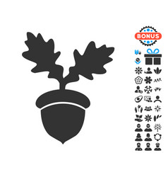 Oak acorn icon with free bonus vector