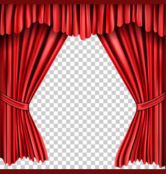 open red silk fabric curtains realistic vector image