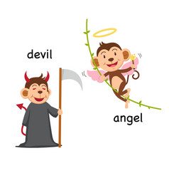 Opposite words devil and angel vector