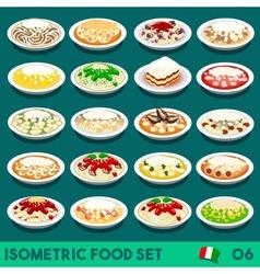 Pasta Set 06 Food Isometric vector image vector image