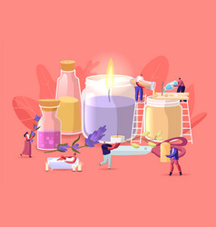 People making aroma candles for home decor concept vector