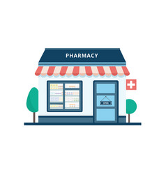 pharmacy or drugstore building icon flat cartoon vector image