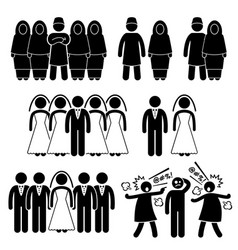 Polygamy marriage multiple wife husband stick vector