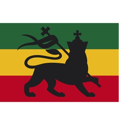 Rastafarian flag with the lion of judah vector