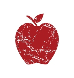 Red grunge apple logo vector image
