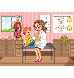 Scene with doctor and patient at clinic vector