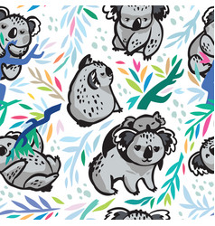 Seamless pattern with cute koalas in the vector