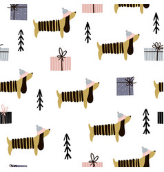 Seamless pattern with dachshunds and gift boxes vector