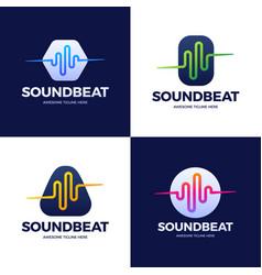 set audio sound wave logo template stock design vector image