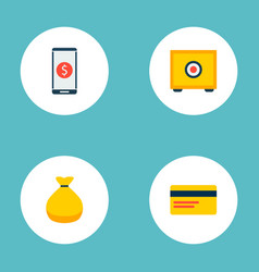 set of finance icons flat style symbols with money vector image