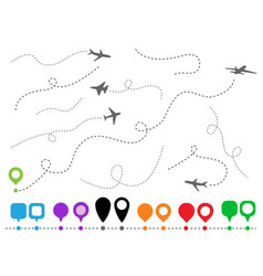 set symbols aircrafts and pins plane line vector image
