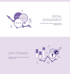 Social engagement and data training template web vector