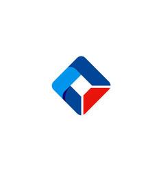 Square abstract ribbon technology logo vector