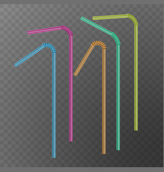 straw for beverage drinking straws of rainbow vector image
