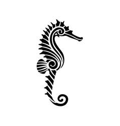 stylized black seahorse vector image