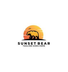 Sunset bear template vector