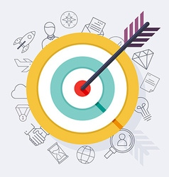 Target bullseye or arrow on target flat icon Flat vector