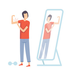 Teen guy standing in front mirror pretending to vector