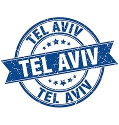 Tel Aviv blue round grunge vintage ribbon stamp vector