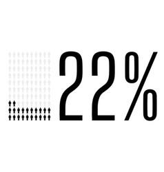 Twenty two percent people chart graphic 22 vector