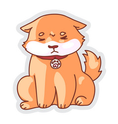 Unhappy sad dog emotion sticker isolated on white vector