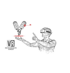 Vr wireframe headset man with pills banner vector