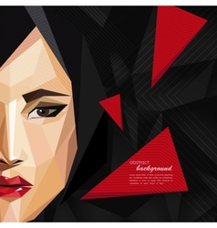 With an asian woman face in low-polygonal style vector
