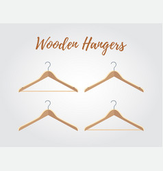 wooden hanger collection different hooks vector image