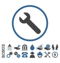 Wrench Flat Rounded Icon With Bonus vector image