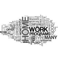 at home work text word cloud concept vector image vector image