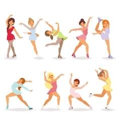 Ballerina dancer girl set vector image