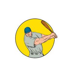 baseball player swinging bat drawing vector image vector image