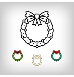Christmas wreath isolated icon decoration vector image vector image