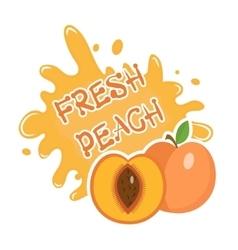Fresh Peach splash icon logo sticker Fruit vector image vector image