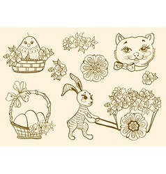 Hand drawn doodle Easter symbols vector image
