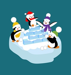 Penguins playing snowball vector