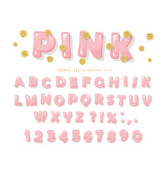 pink glossy font abc letters and numbers for vector image