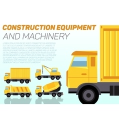 web banner with construction trucks vector image