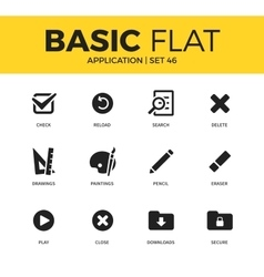 Basic set of application icons vector