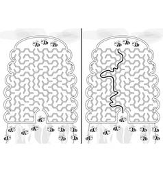 Bees maze vector image vector image